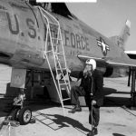Living Memorials: Civil War veteran poses with a fighter jet, 1955