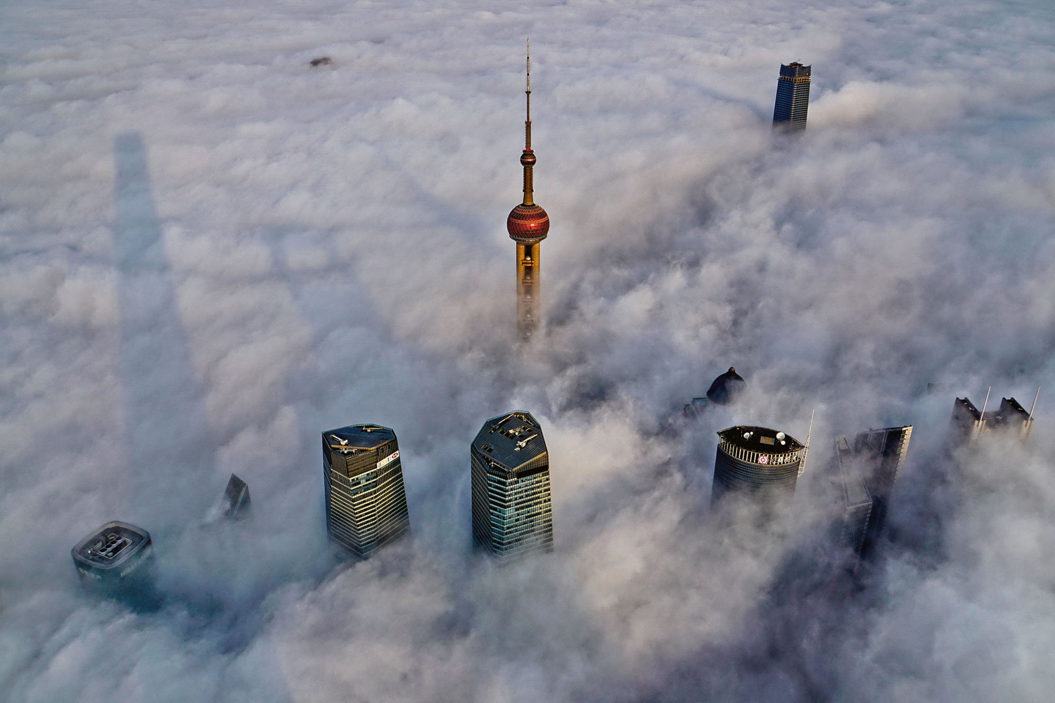 Oriental Pearl Tower, over a sea of clouds in Shanghai, China, on February 28, 2016