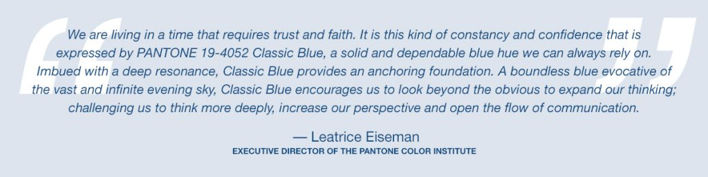 """Timeless and enduring"" 2020's color is Classic Blue"