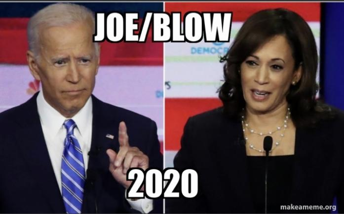 """Joe/Blow 2020!"" --In response the the BidenHandPuppet selecting Kneepad Harris as potential FirstWhore of the USA"