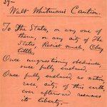 Walt Whitman's Caution, 1855